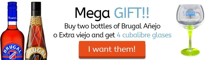 Buying 2 bottles of Brugal Añejo or Extra Old 70 cl., get 4 Cubalibre Glasses!!!