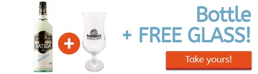 Buying a bottle of Magaroca Batida de Coco, get a FREE glass of Mangaroca