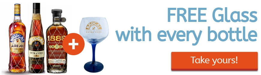With every bottle of Brugal, get a FREE ballon glass